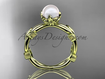Simple Engagement Ring Pearl Yellow Gold Flower Ring Ap522