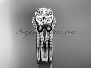 Moissanite White Gold Butterfly Engagement Ring Set ADLR514S