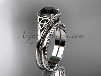 Black Diamond Celtic Knot Wedding Sets Platinum Ring Ct7375s