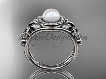 Butterfly Pearl and Diamond Ring Platinum Wedding Ring AP524