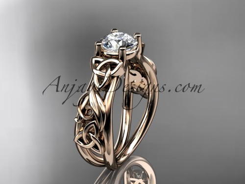 Moissanite Rose Gold Celtic Triquetra Wedding Ring CT7216