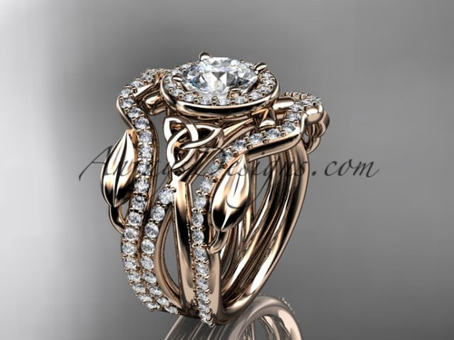 """14kt rose gold celtic trinity knot engagement ring, wedding ring with a """"Forever One"""" Moissanite center stone and double matching band CT789S"""