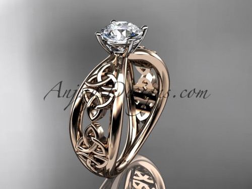 """14kt rose gold celtic trinity knot wedding ring, engagement ring with a """"Forever One"""" Moissanite center stone CT7171"""