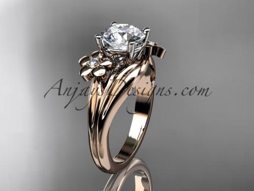floral 14k rose gold moissanite   engagement ring ADLR159