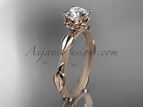 """14k rose gold diamond vine and leaf wedding ring, engagement ring with a """"Forever One"""" Moissanite center stone ADLR290"""