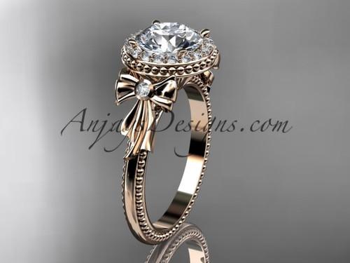 Diamond Bow 14kt Rose Gold Engagement Ring ADER157