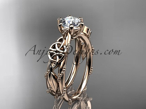 14kt rose gold celtic trinity knot engagement ring , wedding ring CT766