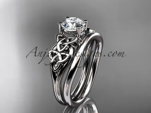 "14kt white gold celtic trinity knot wedding ring, engagement set with a ""Forever One"" Moissanite center stone CT7169S"