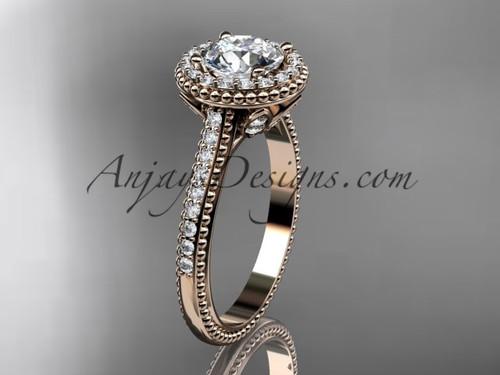 14kt rose gold diamond floral wedding ring, engagement ring ADLR101