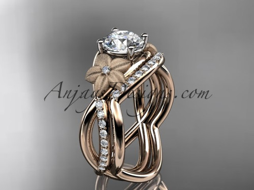 """14k rose gold diamond leaf and vine wedding ring, engagement set with a """"Forever One"""" Moissanite center stone ADLR90S"""