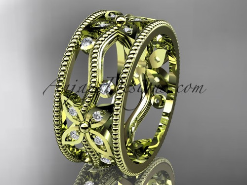 14kt Yellow Diamond Leaf And Vine Wedding Ring Engagement