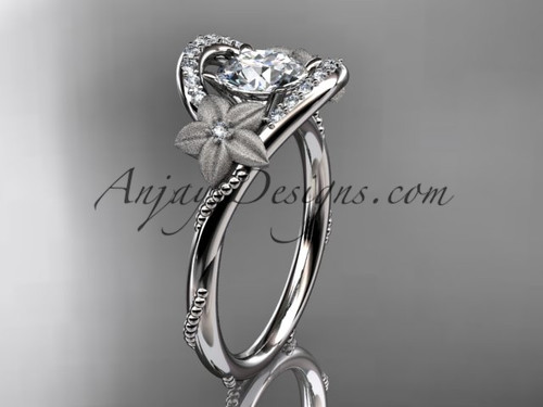 """14kt white gold diamond unique engagement ring with a """"Forever One"""" Moissanite center stone ADLR166"""