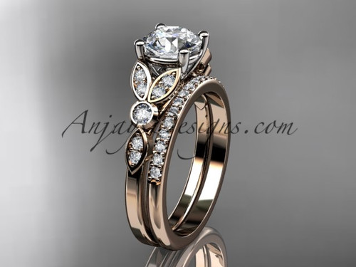 "14k rose gold unique engagement set, wedding ring with a ""Forever One"" Moissanite center stone ADLR387S"