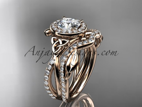 """14kt rose gold celtic trinity knot engagement set, wedding ring with a """"Forever One"""" Moissanite center stone CT789S"""