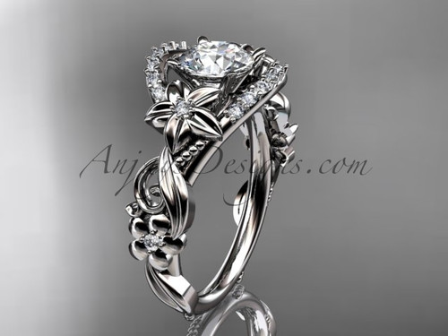 14k white gold flower diamond unique engagement ring