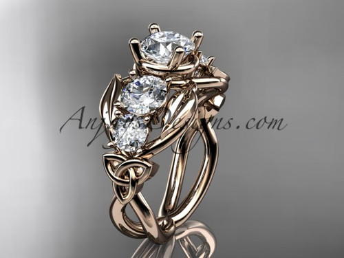 14kt Rose Gold Moissanite Welsh Engagement Ring CT769