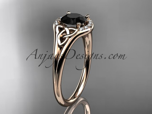 14kt rose gold celtic trinity knot engagement ring, wedding ring with a Black Diamond center stone CT791