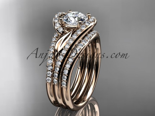 14k rose gold diamond leaf and vine wedding ring, engagement ring with a double matching band ADLR317S