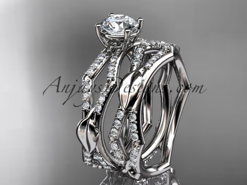 """14k white gold diamond leaf and vine wedding ring, engagement set with a """"Forever One"""" Moissanite center stone ADLR353S"""