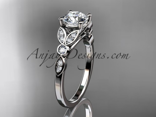 14k white gold unique engagement ring, wedding ring ADLR387