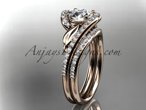 """14k rose gold diamond leaf and vine wedding ring, engagement set with a """"Forever One"""" Moissanite center stone ADLR317S"""