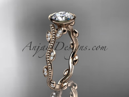 "14k rose gold diamond leaf and vine wedding ring, engagement ring with  ""Forever One"" Moissanite center stone ADLR33"
