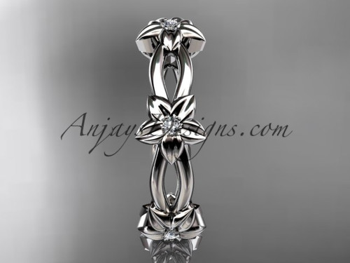 platinum diamond leafvine flower wedding ringengagement ring