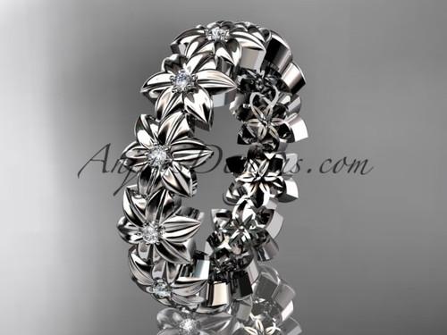 Different Engagement Rings Platinum Flower Band ADLR57B