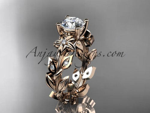 Flower Moissanite Engagement Ring Rose Gold ADLR215
