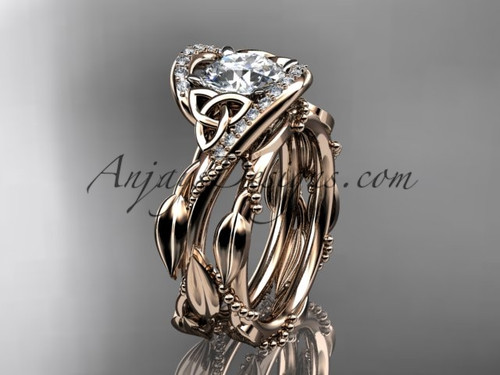 14kt Rose Gold Celtic Trinity Knot Engagement Set CT764S
