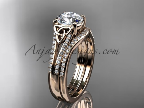 "14kt rose gold celtic trinity knot engagement ring ,diamond wedding ring, engagement set with a ""Forever One"" Moissanite center stone CT7108S"