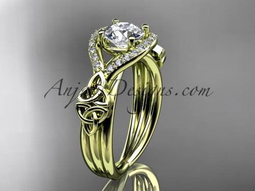 "14kt yellow gold celtic trinity knot engagement ring ,diamond wedding ring with ""Forever One"" Moissanite center stone CT785"