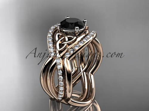 14kt rose gold celtic trinity knot engagement ring, wedding ring with a Black Diamond center stone and double matching band CT790S
