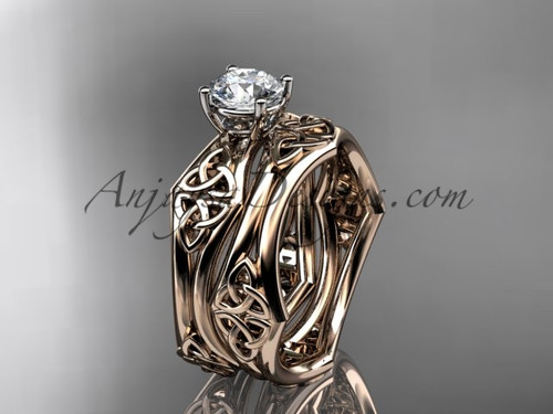 """14kt rose gold celtic trinity ring,  triquetra ring, engagement  set with a """"Forever One"""" Moissanite center stone CT7356S"""