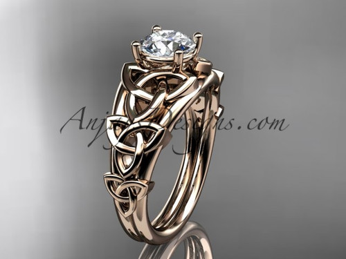 "14kt rose gold celtic trinity knot engagement ring , wedding ring  with a ""Forever One"" Moissanite center stone CT765"
