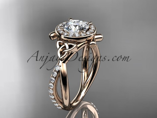 """14kt rose gold celtic trinity knot engagement ring, wedding ring with a """"Forever One"""" Moissanite center stone CT789"""