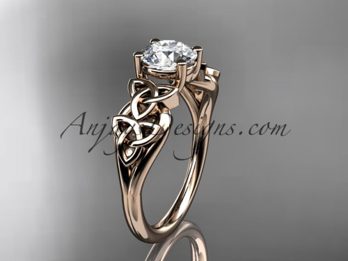 "14kt rose gold celtic trinity knot wedding ring, engagement ring with a ""Forever One"" Moissanite center stone CT7169"