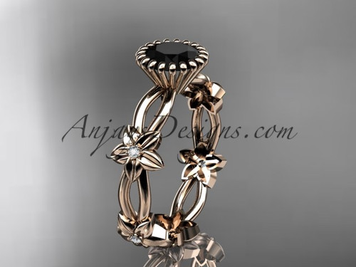 14k rose gold diamond leaf and vine wedding ring,engagement ring with a Black Diamond center stone ADLR19D
