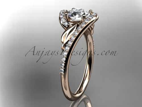 """14k rose gold diamond leaf and vine wedding ring, engagement ring with a """"Forever One"""" Moissanite center stone ADLR317"""
