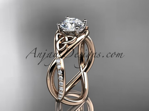 """14kt rose gold celtic trinity knot engagement ring, wedding ring with a """"Forever One"""" Moissanite center stone CT790"""