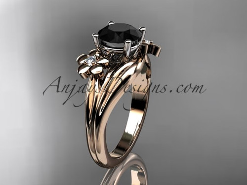 14k rose gold diamond leaf and vine wedding ring, engagement ring with a Black Diamond center stone ADLR159