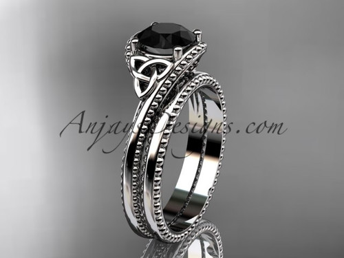 14kt white gold celtic trinity knot wedding ring, engagement set with a Black Diamond center stone CT7322S