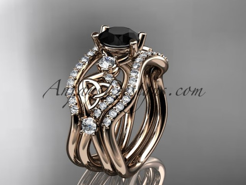 14kt rose gold celtic trinity knot engagement ring, wedding ring with a Black Diamond center stone and double matching band CT768S