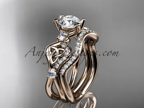 """14kt rose gold celtic trinity knot engagement set, wedding ring with a """"Forever One"""" Moissanite center stone CT768S"""