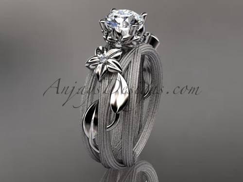 """14kt white gold diamond floral, leaf and vine wedding ring, engagement ring with a """"Forever One"""" Moissanite center stone ADLR253"""