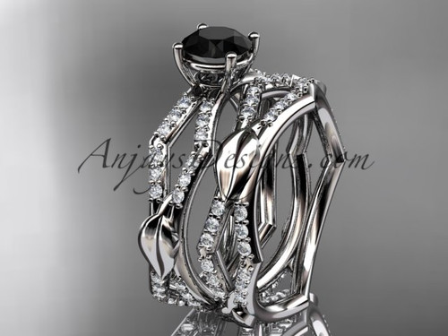 14k white gold diamond leaf and vine wedding ring, engagement set with a  Black Diamond center stone ADLR353S