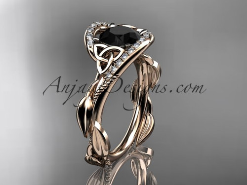 Scottish Celtic Wedding Rings Rose Gold Black Diamond CT764