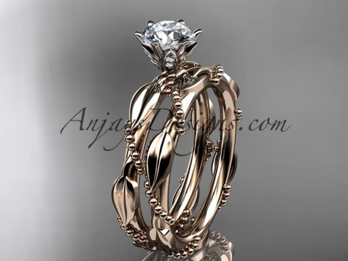 """14k rose gold diamond vine and leaf wedding ring, engagement set with a """"Forever One"""" Moissanite center stone ADLR178S"""