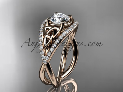 """14kt rose gold celtic trinity knot engagement ring ,diamond wedding ring with """"Forever One"""" Moissanite center stone CT788"""