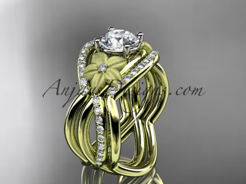 """14kt yellow gold diamond leaf and vine wedding ring, engagement ring with  """"Forever One"""" Moissanite  center stone and double matching band ADLR90S"""